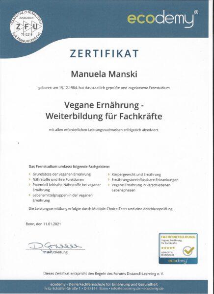 Ecodemy Vegan Zertifikat